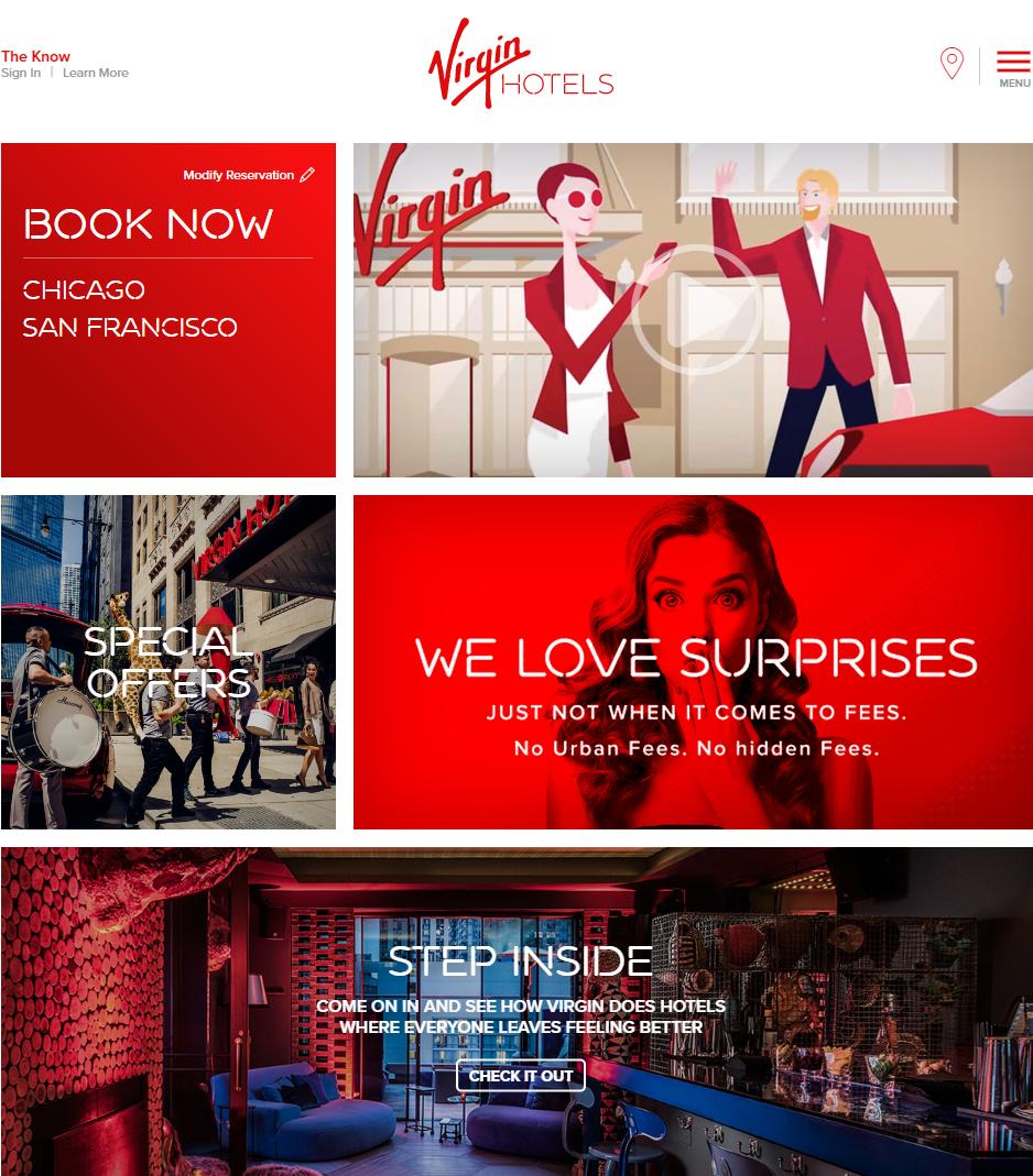 Thiết kế logo khách sạn Virgin trong tương quan với Website và các yếu tố hình ảnh khác