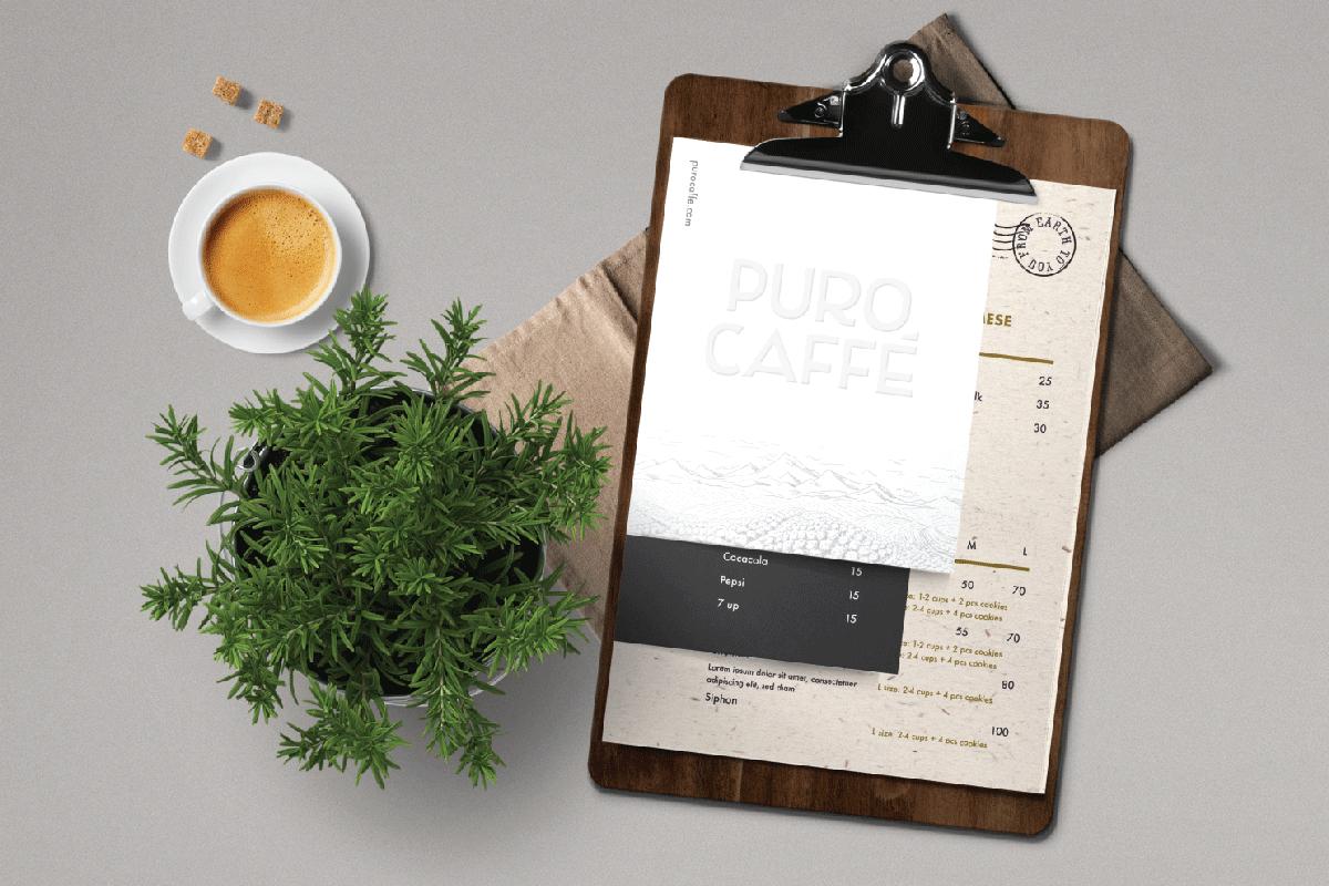 Thiết kế menu quán cafe Puro bởi B&A